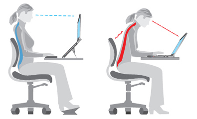 ergonomic posture working on laptop